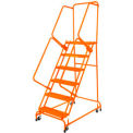"Grip 24""W 5 Step Steel Rolling Ladder 21""D Top Step w/ Handrails - Orange w/ Cal OSHA Handrail"
