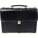 "Bond Street 367061 Leather Executive Briefcase, 15.6"" Computer Case, Black"