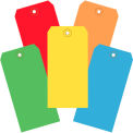 """13 Pt. Shipping Tags, #5, 4-3/4"""" x 2-3/8"""", Assorted Colors - 1000 Pack"""