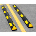 100% Recycled Rubber 6' Parking Curb, Black w/ Yellow Reflective