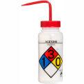 Bel-Art LDPE Wash Bottles 117160001, 500ml, Acetone Label, Red Cap, Wide Mouth, 4/PK