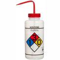 Bel-Art LDPE Wash Bottles 117320001, 1000ml, Acetone Label, Red Cap, Wide Mouth, 4/PK