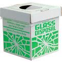 "Bel-Art F24653-0002 Broken Glass Disposal Box, Benchtop Model, 8""W x 8""D x 10""H, Green, 6/PK"