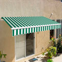 """Awntech CAM8-FW Retractable Awning Manual 8'W x 7""""H x 7'D Forest Green/Whtie"""