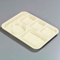 Carlisle P61425 - Left-Hand 6-Compartment Tray, Tan - Pkg Qty 24