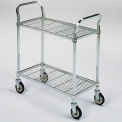 """Square-Post Wire Utility Carts with Rubber Casters - 36"""" Wx18"""" D Shelf - 2 Shelves"""