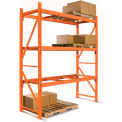 "Cresswell 2 Shelf Starter Pallet Rack Unit - 96x42x144"" Orange Frame w/ Orange Beams without Decking"