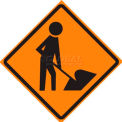 """Dicke Safety Non-Reflective Roll-Up Sign, 36"""" x 36"""", WORKER SYMBOL, RUNR36-200 WS"""