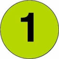 """2"""" Dia. Disc With # 1 - Fluorescent Green / Black"""