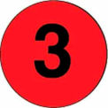 """2"""" Dia. Disc With # 3 - Fluorescent Red / Black"""