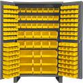 "Durham Storage Bin Cabinet JC-171-95 - 171 Yellow Hook-On Bins 48""W x 24""D x 78""H"