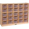 """ECR4Kids® 25 Tray Birch Cubby Storage Cabinet w/25 Clear Bins, 48""""W x 13""""D x 36""""H"""