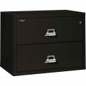 """Fireking Fireproof 2 Drawer Lateral File Cabinet - Letter-Legal Size 37-1/2""""W x 22""""D x 28""""H - Black"""