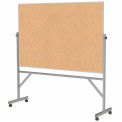 """Ghent® Mobile Reversible Double Sided Cork Board, Aluminum Frame, 77""""W x 78-1/4""""H"""