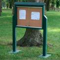 "Jayhawk Plastics Medium Message Center, Recycled Plastic, One Side, Two Posts, Green, 36""W x 26""H"