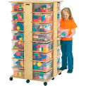"Jonti-Craft® 32 Cubbie Mobile Tower With Clear Tubs, 27""W x 27""D x 53-3/4""H, Birch Plywood"