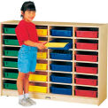 "Jonti-Craft® 24 Tray Mobile Cubbie w/Colored Paper-Trays, 48""W x 15""D x 35-1/2""H, Birch Plywood"