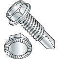 12-24X4  Unslot Ind Hexwasher Serrated Self Drilling Screw Full Thread Zinc Bake, Pkg of 500