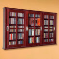 Wall Mounted Sliding Glass Door Multimedia Storage Cabinet Dark Cherry, 525 CDs