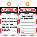 "NMC LOTAG1-25 Tags, This Tag & Lock To Be Removed Only, 6"" X 3"", White/Red/Black, 25/Pk"