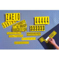 "NMC NPS12 Number Card 0-9, 10 Numbers/Card, 1""H, Yellow/Black, Pressure Sensitive Cloth"
