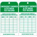 "NMC RPT37 Tags, Emergency Shower And Eye Wash Test Record, 6"" X 3"", White/Green, 25/Pk"
