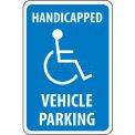 "NMC TM10G Traffic Sign, Handicapped Vehicle Parking, 18"" X 12"", White/Blue"