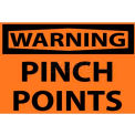 "NMC W149AP OSHA Sign, Warning Pinch Points, 3"" X 5"", Orange/Black"