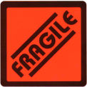 "Fragile Shipping Label -  On Red Fluorescent Paper - 2.625"" X 2.625"" - Bilingual"