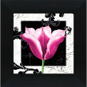 "Crystal Art Gallery - Damask Tulip 3 - 16""W x 16""H, Straight Fit Framed"