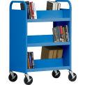 Sandusky® SV336 Double-Sided Slant 6 Shelf Steel Book Cart 37x18 Blue