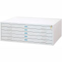 """5-Drawer Steel Flat File for 36"""" x 48"""" Documents, White"""