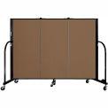 "Screenflex 3 Panel Portable Room Divider, 4'H x 5'9""L, Fabric Color: Walnut"