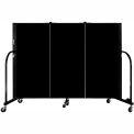 "Screenflex 3 Panel Portable Room Divider, 4'H x 5'9""L, Fabric Color: Charcoal Black"