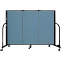 "Screenflex 3 Panel Portable Room Divider, 4'H x 5'9""L, Fabric Color: Summer Blue"
