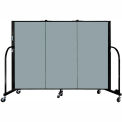 "Screenflex 3 Panel Portable Room Divider, 4'H x 5'9""L, Fabric Color: Grey Stone"