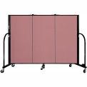 """Screenflex 3 Panel Portable Room Divider, 4'H x 5'9""""L, Fabric Color: Mauve"""