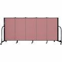 "Screenflex 5 Panel Portable Room Divider, 4'H x 9'5""L, Fabric Color: Rose"