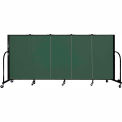 "Screenflex 5 Panel Portable Room Divider, 4'H x 9'5""L, Fabric Color: Mallard"
