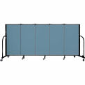 "Screenflex 5 Panel Portable Room Divider, 4'H x 9'5""L, Fabric Color: Blue"