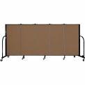 "Screenflex 5 Panel Portable Room Divider, 4'H x 9'5""L, Fabric Color: Oatmeal"
