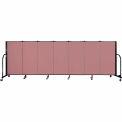 "Screenflex 7 Panel Portable Room Divider, 4'H x 13'1""L Fabric Color: Rose"