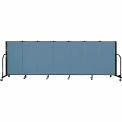 "Screenflex 7 Panel Portable Room Divider, 4'H x 13'1""L Fabric Color: Summer Blue"