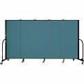 "Screenflex 5 Panel Portable Room Divider, 5'H x 9'5""L, Fabric Color: Lake"