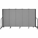 "Screenflex 5 Panel Portable Room Divider, 5'H x 9'5""L, Fabric Color: Grey"