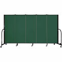 "Screenflex 5 Panel Portable Room Divider, 5'H x 9'5""L, Fabric Color: Green"