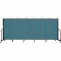 "Screenflex 7 Panel Portable Room Divider, 5'H x 13'1""L, Fabric Color: Lake"