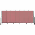 "Screenflex 7 Panel Portable Room Divider, 5'H x 13'1""L, Fabric Color: Rose"