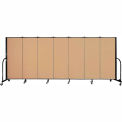 "Screenflex 7 Panel Portable Room Divider, 5'H x 13'1""L, Fabric Color: Desert"
