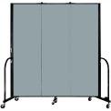 "Screenflex Portable Room Divider - 3 Panel - 6'H x 5'9""L -  Grey Stone"
